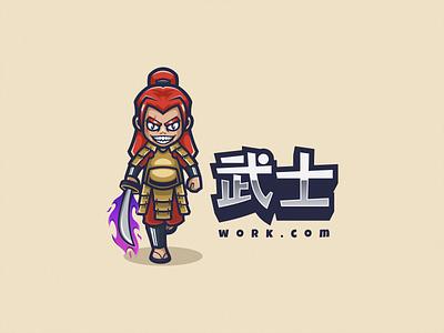 Samurai Logo Mascot illustration vector logodesign logosamurai logomascot logoicon character cartoon branding brand design icon mascot logo samurai