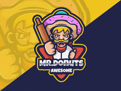 Mr. Donuts Logo Icon snack food character company logodesign cartoon icon design illustration vector business brand branding logo mascot logoicon donuts