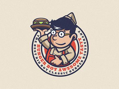 Burger Boy Logo Mascot logoicon logomascot mascot junkfood retro vintage branding brand business graphic design logodesign cartoon icon design vector illustration food logo boy burger