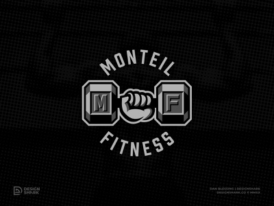 Monteil Fitness gym fitness illustration illustrator dumbbell logo dumbbell trainer fit branding personal trainer workout sports style bevel vector logo design fitness logo fitness logo