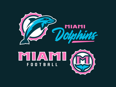 "Miami Dolphins ""Miami Vice"" Concept logo monogram badge design nfl concept illustration vector football logo football branding football dolphin mascot sports mascot logo mascot logo typography branding sports branding sports logo miami dolphins dolphins logo miami vice"