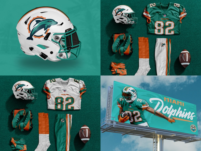 Miami Dolphins Uniform Concept miami nfl concept football branding billboard orange teal photoshop brand identity concept art football concept sports branding branding dolphin logo dolphins football advertising uniform design