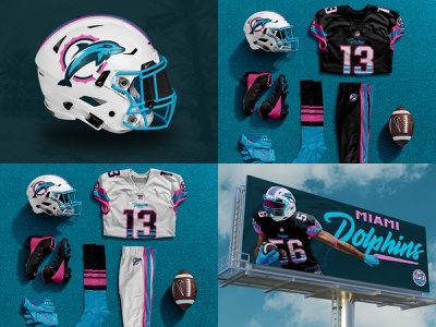 "Miami Dolphins Uniform ""Miami Vice"" Concept billboard design advertising dolphin logo concept nfl concept miami dolphins vice city miami vice light blue pink photoshop logo sports logo brand identity sports branding branding football miami dolphins uniform design"