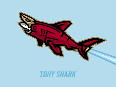 Tony Shark great white shark helmet photoshop illustrator marvel fan art bold logo pun shark illustration vectors shark week logo designer shark mascot mascot logo shark logo animated logo marvel illustration iron man shark