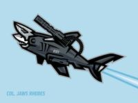 Col. Jaws Rhodes shark mascot photoshop illustrator animated gif animated illustration iron suit fan art iron man design bold lines vector illustration mascot design shark illustration shark logo marvel shark war machine