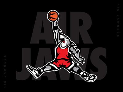 AIR JAWS clean bold jordan basketball logo sports logo logo shark logo shark illustration dynamic chicago bulls shark week jump man vector illustration basketball shark mascot mascot logo mascot design air jaws shark