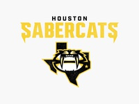 Houston Sabercats Concept vector bold sports mascot mascot rugby branding rugby logo rugby houston saber cat sabertooth tiger clean concept logo rebranding logo sport logo