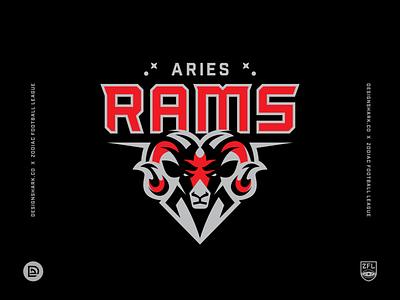 Zodiac Football League   Aries Rams (1/12) astrology mascot logo ram logo sports identity brand identity branding sports design uniform design logotype vector football zodiac signs sports logo logo sports branding ram