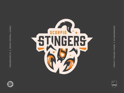 Zodiac Football League | Scorpio Stingers (8/12) orange uniform design brand identity logo logotype clean lines bold league football sports logo sports branding branding astrology scorpio zodiac sign badge logo logo design illustration vector illustration scorpion
