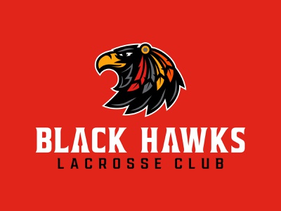 Burlington Black Hawks Lacrosse Club vector illustration logo design illustration custom wordmark logotype hawk logo type design branding sports branding icon design custom typography lacrosse lacrosse logo mascot logo sports mascot black hawks hawk vector