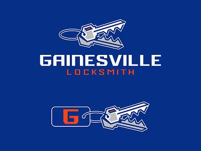 Gainesville Locksmith ID Collaboration Concept identity design icon bold brand identity branding design branding vector keys logomark wordmark logotype gainesville locksmith gator logo