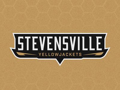 Stevensville Yellowjackets Brand ID (2/3) logotype design badge logo high school branding sports logo brand identity school typography logo athletic branding yellowjacket sports branding vector branding custom wordmark logotype