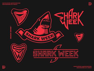 Design Shark Week bold sports icon aggressive sports logo great white shark shark fin shark logo illustration logotype wordmark custom type shark branding badge logo design logo designer logo graphic design shark week