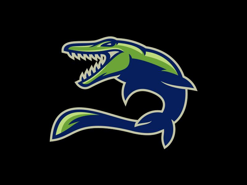 Mosasaur... rawr! dinosaur ocean monster jurassicworld logo vector mosasaur