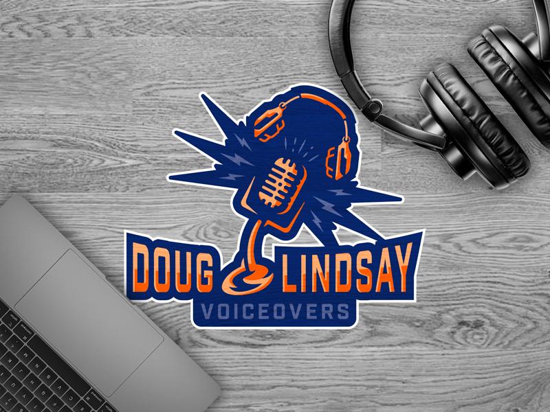 Doug Lindsay - Voiceover Logo fun logo design brand identity design sports logo style bold illustrator vector headphones microphone voiceover