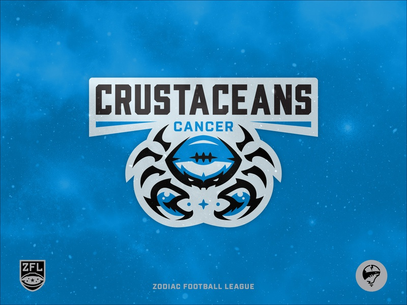 ZFL | Cancer Crustaceans Primary Mark sports design illustration illustrator wordmark custom type vector league zodiac football black california blue crest logo badge design identity branding sports branding sports logo crustacean cancer crab