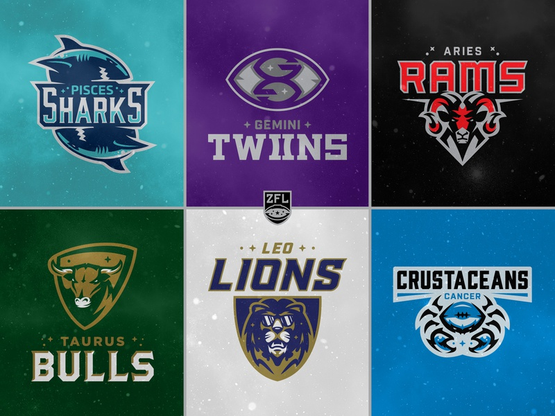 ZFL | First Six Teams (Half) ram crab lion head shark bull custom wordmark logotype custom type badge design crest logo vector identity branding sports design sports branding sports star astrology zodiac league football