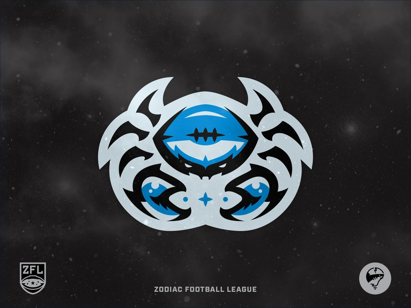 ZFL | Cancer Crustaceans Logomark illustrator aggressive modern clean identity branding sports logo sports sports branding series brand black california blue badge logo crest logo league football astrology zodiac vector crab