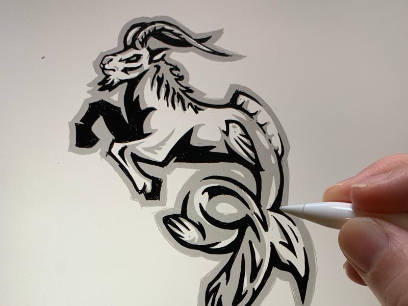 ZFL | Capricorn Sea Goats Concept Sketch digital sketch visual identity sports branding sports logo logo design logo ipad pro art astrology concept pencil sketch league football zodiac