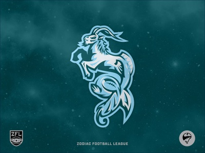 ZFL | Capricorn Sea Goats Secondary design stars astrology negative space vector illustrator logo design logo identity branding sports branding sports logo crest badge league football zodiac capricorn goat