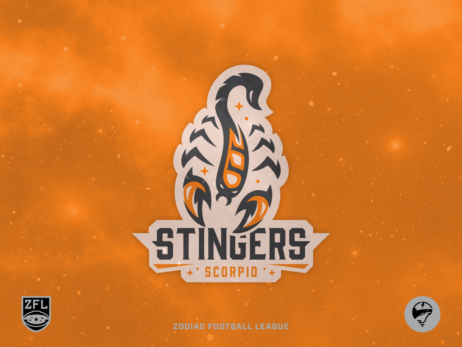 ZFL | Scorpio Stingers Primary 2.0 orange bold illustration vector astrology wordmark dribbble identity branding league football zodiac sports logo sports branding logo design logo crest badge scorpion scorpio
