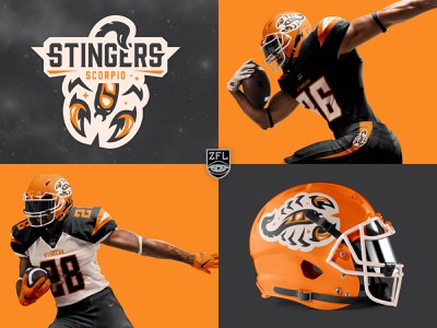 ZFL | Scorpio Stingers Visual Identity bold badge logo orange football logo zodiac sign vector sports logo identity branding sports branding sports typogaphy logo design logo league football zodiac astrology scorpio scorpion