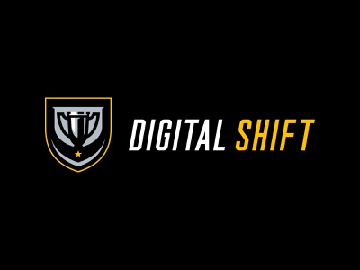 DigitalShift | Primary Lockup modern logo clean design gold black identity branding and identity digital branding logo design branding sports branding sports icon icon emblem logo sports design digital agency sports trophy