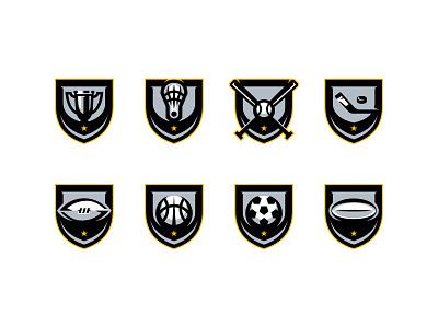 DigitalShift | Eight Sport Emblems branding sports icon soccer rugby basketball hockey baseball football trophy gold black logo design modern logo clean design icon sports emblems brand identity sports branding vector illustrator