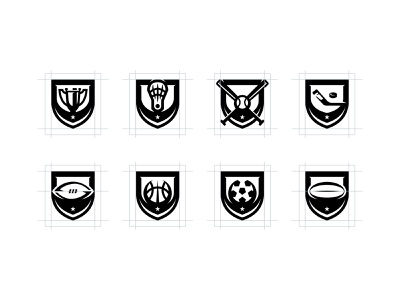 DigitalShift | One Color Structure hockey soccer basketball trophy football lacrosse modern logo layout one color grid sports branding brand identity sports emblem emblem logo icon design sports icon clean design black vector illustrator