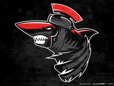 Praetorian Shark full body logo shark logo sports illustrator rome