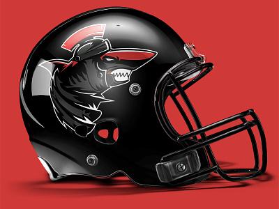 Helmet mock-up of 'Praetorian Sharks' photoshop football sports logo branding
