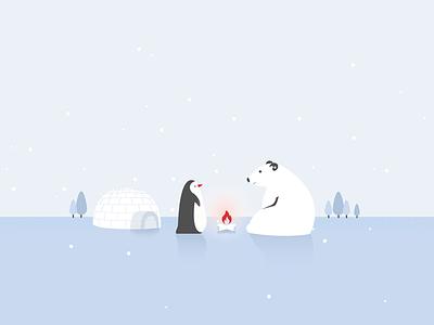 Polar Bear & Penguin snowing polar bear heating fire freezing cold north pole trees igloo minimal wallpaper inspiration cute graphic flat design flat illustration penguin bear polar