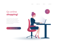 Girl online shopping illustration - website header