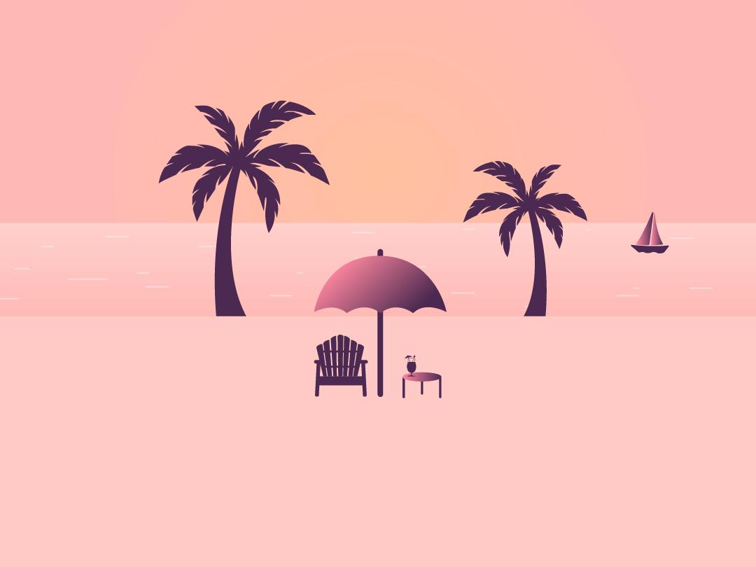 Summer Golden Hour Wallpaper vector gradient golden hour colors wallpaper cute inspiration flat design illustration graphic design minimal boat summertime chair umbrella sand beach palms sea summer