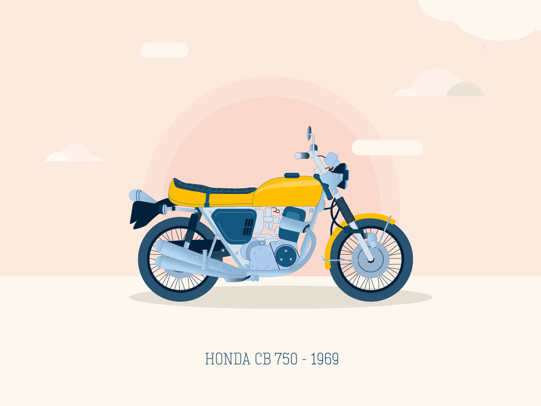 Motorcycle wallpaper - digital art flat design blue creative digital art concept art adobe illustrator 2d cute vector illustration minimal inspiration flat graphic design moto motorcycle honda wallpaper