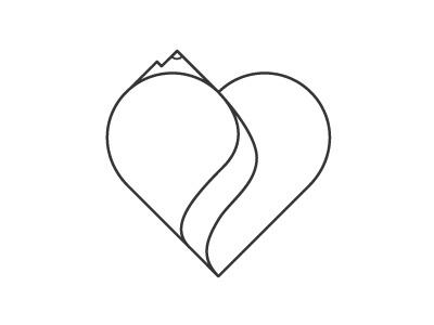 Mountain Heart Logo logo mountains river heart