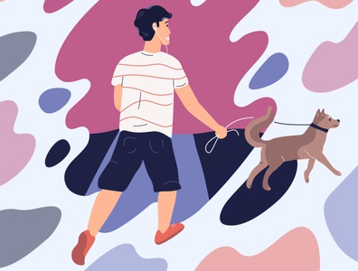 Walking with a dog animals dogs illustration vector character digital illustration flat illustration characterdesign adobe illustrator