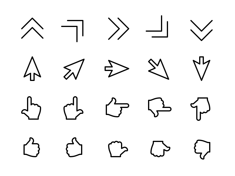 Cursor & Pointer Icons interaction point click tap navigation direction pointer cursor mouse ui8 glyph iconfinder creative market iconography icon
