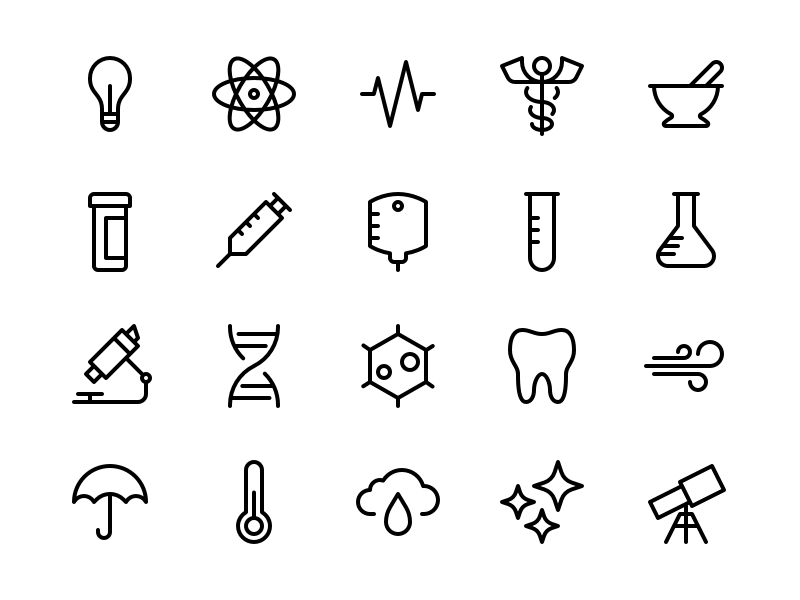 Health & Science Icons meteorology weather space pharmacy chemistry biology astrology astronomy healthcare medicine health science xd ux ui design vector glyph iconography icon