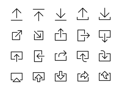 Share & Export Icon Set arrow symbol transfer import receive send broadcast download upload export share ux ui library set ico glyph vector iconography icon