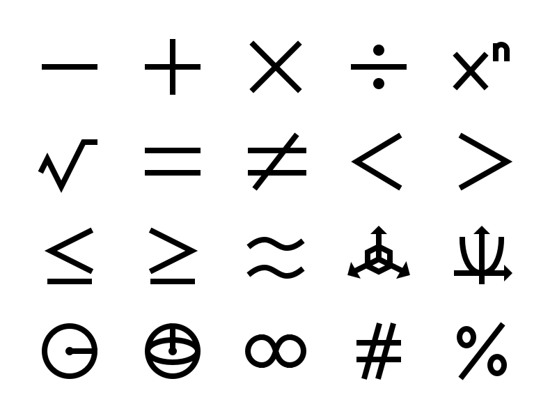 Math & Number Icon Set shape punctuation library calculus geometry algebra equation set logic calculate education number arithmetic mathematics math symbol vector glyph iconography icon