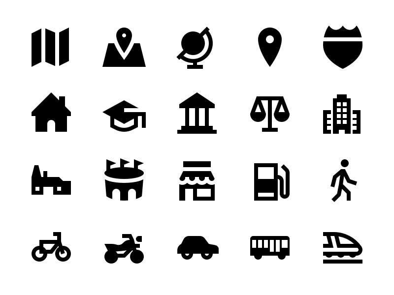 Travel & Transit Solid Icons by Travis Avery on Dribbble