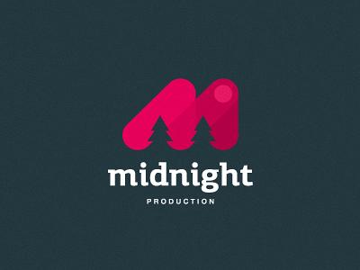 Midnight production midnight production night moon forest m letter zerographics logo