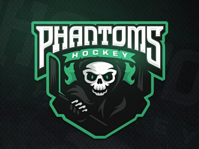 Phantoms  stick hockey zerographics sport logo skull phantom