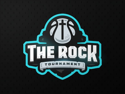 The Rock zerographics logo sports ball cross church tournament basketball rock