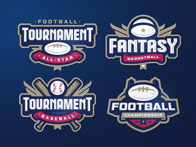 Sport logos templates zerographics tournament sports softball logo fantasy championship baseball