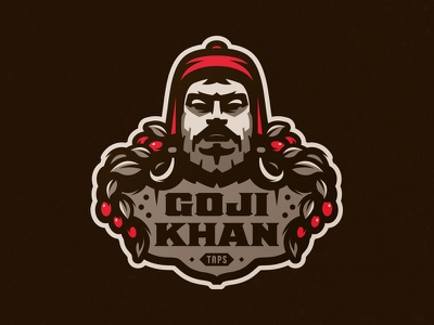 Goji Khan Beer pub brew taps zerographics logo craft beer khan goji