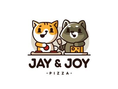 Jay&Joy pizza cartoon cooking raccoon cat zerographics logo joy jay pizza