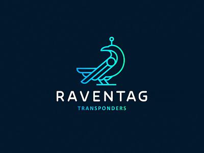 Raventag transponder zerographics logo line rfid tag bird raven