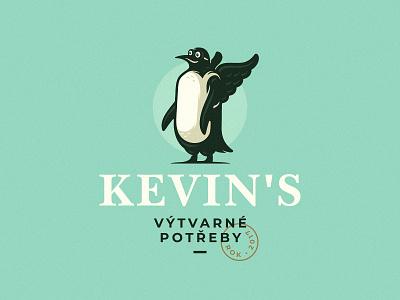 Kevins wings store shop art zerographics logo penguin kevins